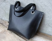 Leather tote bag, Womens shopping bag, Black bag, MADE TO ORDER