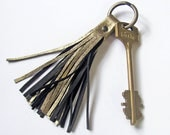 Leather Tassel Keychain, Gold color