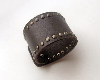 Leather bracelet, dark brown color, Studded leather cuff for men and women