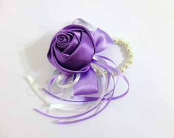 Wrist Corsage, Lilac Satin Rose corsage, bridesmaid Corsage