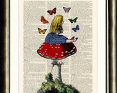 Alice in Wonderland Alice sitting on a Toadstool Upcycled print on a vintage book page from a late 1800s Dictionary Buy 3 get 1 FREE