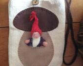 Mushroom Pocket Purse with Gnome stuffed toy