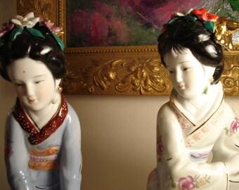 Chinese Geisha Porcelain Figurines, Pair