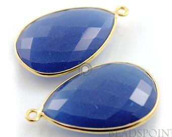 Blue Sapphire Chalcedony, Bezel Pear Shape Gemstone Component, 24K Gold Vermeil Over Sterling Silver,  30x22mm 1 Piece, (BZC7315)