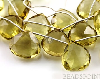 Natural '' NO TREATMENT'' Lemon Topaz Extra Large Faceted Flat Heart Drops, AAA Quality Gemstones 19-20 , 2 pieces (2LTZ19-20HRT)