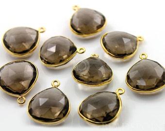Natural Smokey Topaz Bezel Heart Shape Gemstone Component, Gold Vermeil,  16mm, 1 Piece, (BZC6091)