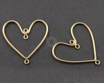 Gold Filled Heart Shaped Chandelier Hoop Earring Finding w/ Inside Ring and 1 bottom Ring, , 1 PAIR (GF/738/12x24)