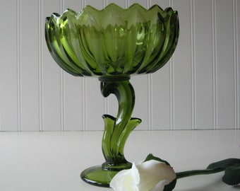 Green Pedestal Bowl, Lotus Blossom, Green Compote, Indiana Glass, Centerpiece, Candy Dish