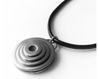 Mens Necklace, Round Tribal Black and Silver Pendant, Stainless Steel, Black Leather Cord