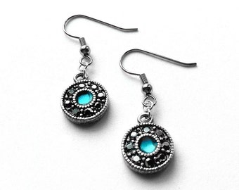 Teal and Black Earrings, Aqua Blue Sparkly Jewelry, Bling, Round Dangle Earrings, Gift Ideas for Mom,