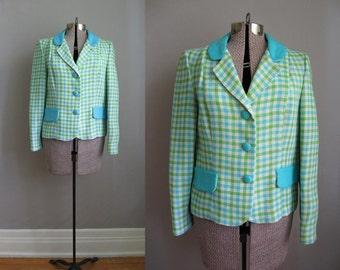 1960s Vintage Blazer 60s Suit Jacket Green Blue Gingham Lee Parker Original / Medium