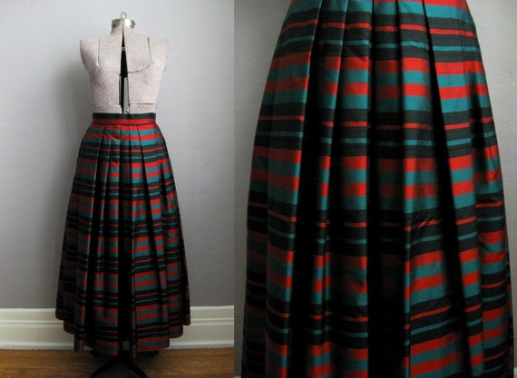 60s 70s Maxi Skirt / Plaid Taffeta Evening Skirt / Full Skirt