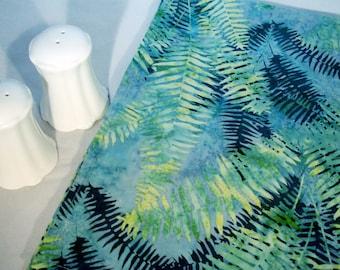 Batik Luncheon Napkins - Turquoise Ferns
