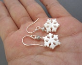 Mother of pearl Snowflake dangling Earrings, Dainy winter jewelry, Christmas gift, gift for her, children's jewelry