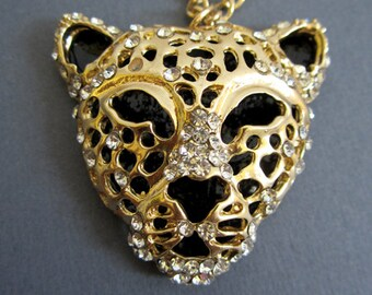 SALE-  Gold plated Leopard head Necklace with CZ accents, Long necklace