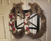RESERVED FOR BETH S: Two 18-Inch Oval Christmas Wreaths with Burlap Twine Felt and Pearl Accents