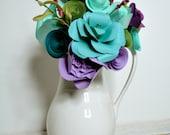 Mother's day bouquet Paper Flower Bouquet  Wedding bouquet Wedding Centerpiece Purple, Teal, Green Paper flowers