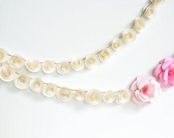 Garland Pink Ivory Paper Flower Garland- shower, birthday party, nursery garland-Baby Girl