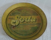 "Colonel Goodfellow's Sarsa-Parilla Soda tin metal tray, 12.75"" diameter, 1979 Pentron Industries, sasparilla mustard yellow gold olive green"