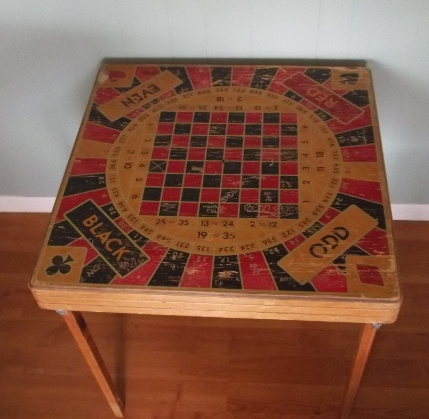 Vintage Folding Game Table Or Wall Hanging Poker Table Monte