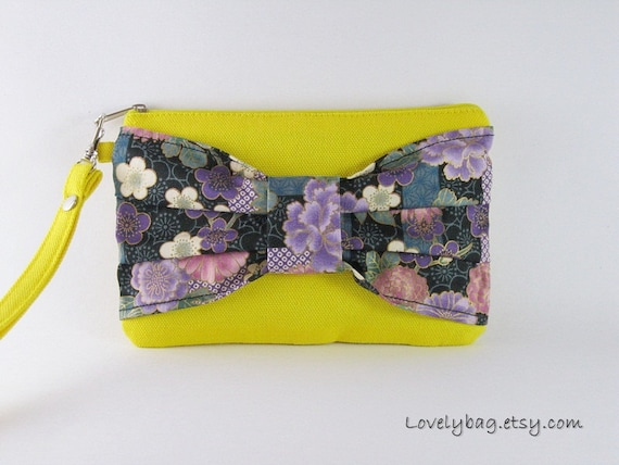 Big Bow Yellow Wristlet - iPhone Purse, Cell Phone Wristlet, Camera Bag, Cosmetic Bag, Zipper Pouch