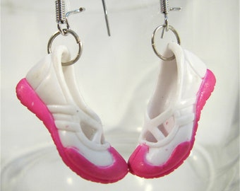 Pink and white plastic Barbie shoe earrings