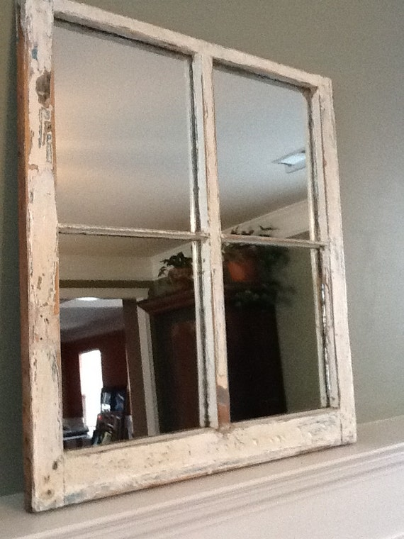Distressed rustic window pane mirror for 2 pane window