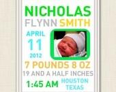 Newborn birth 8x10 announcement- Personalized baby stats art- digital personalized nursery print-  baby boy nursery.
