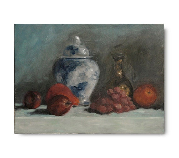 Original Oil Painting, still life, fruit, apples, traditional art, white, steel blue, grey, gray, grapes, blue and white pottery