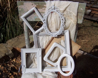 Distressed White PICTURE FRAMES - Shabby Chic Frames - Open Frame Set
