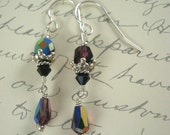 Purple and black earrings by Cerise Jewelry