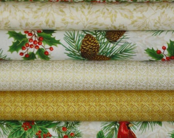 Natures Holiday by Timeless Treasures 6 Yards Cream/Gold