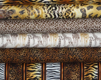 Timeless Treasures African Safari Nature Brown 6 fat Quarters 6 FQ