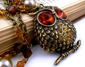 Owl Necklace, Crystal Owl, Glam Necklace, Fall Jewelry, Woodland Jewelry, Pearl, Antique Bronze, November, Topaz, Amber, Ecru