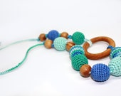 Nursing necklace for Mother and child - Breastfeeding Necklace with wooden ring- Teething necklace with crochet beads