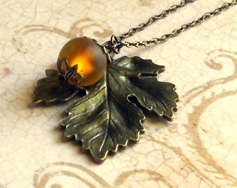 Rustic Leaf Necklace 3D Pendant Antique Bronze Amber Earth Tones Brown Autumn Neutral Lampwork Foil Bead Fashion Jewelry Jewellery Free Ship