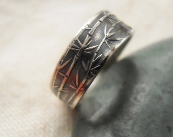 Silver Bamboo Ring - Unisex Botanical Ring in Sterling Silver - Patina Finish - Sizes 4 to 10 - Eco-Friendly Recycled Silver