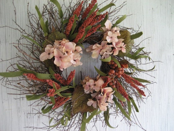 Rustic Hogbrush Wreath with Blush Hydrangeas and Rust Berries - Country wreath - Primitive wreath - Year round wreath - Wreath for door