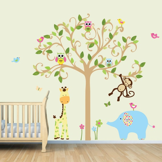 vinyl wall decal monkey wall decal jungle animal tree decal. Black Bedroom Furniture Sets. Home Design Ideas