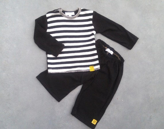 SALE-- Baby Boy Pants / Shirt Outfit 18m. Upcycled Clothes.