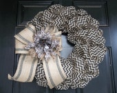 "18""  Natural and Black Chevron  Burlap Wreath/webbing bow and flower, door wreath, wall wreath"