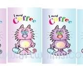 Cat Bookmark, bookmark set, coffee, blue, purple, pink, yellow