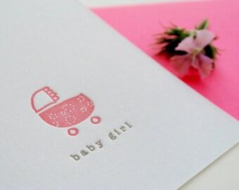 Baby Girl Stroller - Letterpress Baby Announcement Mini Card