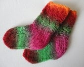 Baby Socks Handknit Multicolor Lace in Orange, Red, Green, Pink - READY TO SHIP