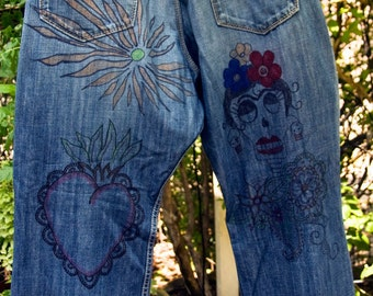 Doodled Denim - Mexican Folk Art Drawn on Jeans, Skulls, Hearts