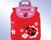 Quilted Backpack - Personalized and Embroidered - LADYBUG