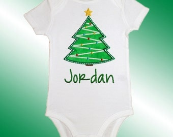 Christmas Baby Shirt Bodysuit - Personalized Applique - Decorated Christmas Tree - Embroidered Short or Long Sleeved