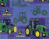 2 yards of John Deere blue denim patches fabric