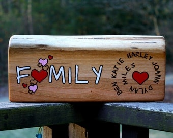 Personalized Sign- Family Names with Hearts - Custom Rustic Wood Sign - Large-Long - Personalized Gift - Handmade Anniversary gift