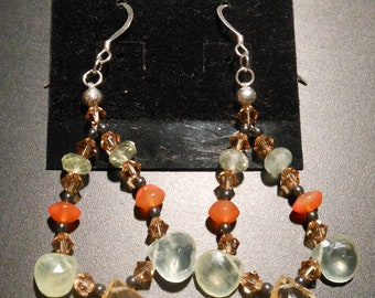 Sterling Silver Earrings with Prehnite, Carnelian, Citrine and Swarovski Crystal